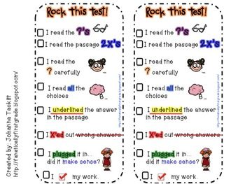 Rock This Test Test Taking Strategy Bookmark By Johanna