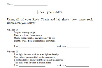 Rock Type Mystery Riddles - Editable