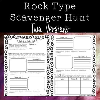 Rock Type Scavenger Hunt