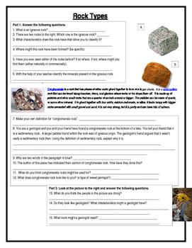 Rock Types Literacy Activity