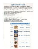 Rock Types and the Rock Cycle Information Packet
