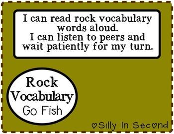 Rock Unit Vocabulary - Go Fish