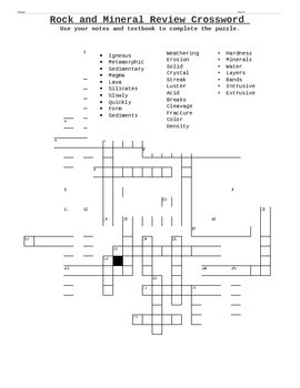 rock and mineral crossword by earth science stuff tpt. Black Bedroom Furniture Sets. Home Design Ideas