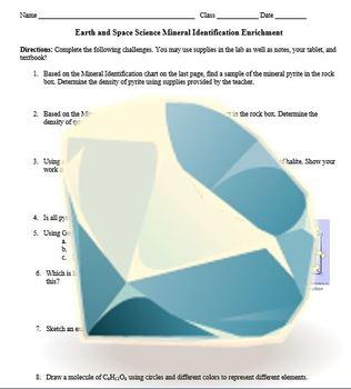 Rock and Mineral Density & Identification Worksheet