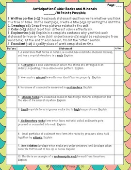 Rock and Mineral Pre-Assessment or Warm-up Activity (comes with presentation)