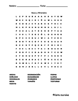 Rock and Mineral - Rocas y Minerales  Word Search English and Spanish