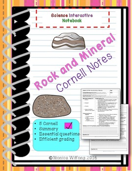 Rock and Mineral Unit Bundle Cornell notes (5 lessons)