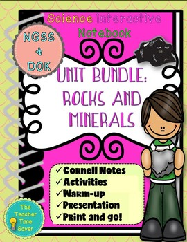 Rocks and Minerals Unit Bundle Cornell notes (5 lessons and PowerPoint)