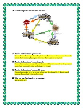 Rocks and Rock Cycle Test