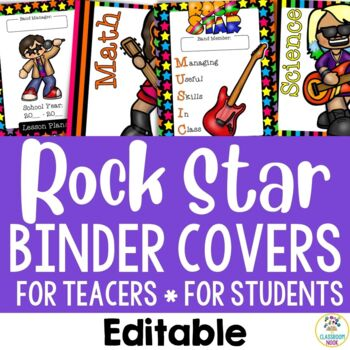Rock Star Theme: Binder Covers (Editable)
