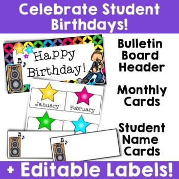 Rock Star Theme:  Birthday Resources (Editable)