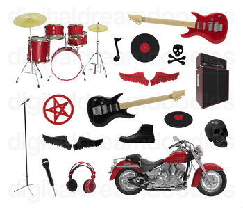 Rock and Roll Clipart - Heavy Metal Rock Star Digital Graphics