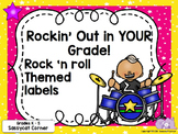 Rock and Roll Rock Star Theme Classroom Decor Name Labels - Editable