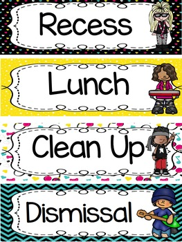 Rock and Roll Rock Star Theme Classroom Decor - Class Schedule - Editable
