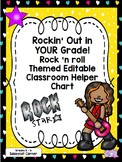 Rock and Roll Rock Star Theme Classroom Decor Helper Chart - Editable