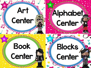 Rock and Roll Rock Star Themed Classroom Decor Center Cards - Editable