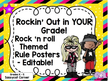 Rock and Roll Rock Star Theme Classroom Decor Rules Posters - Editable