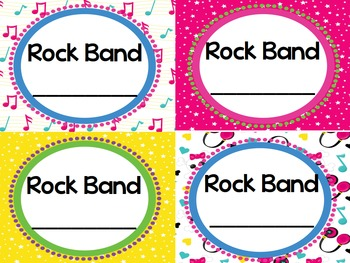 Rock and Roll Rock Star Theme Classroom Decor Table or Group Cards - Editable