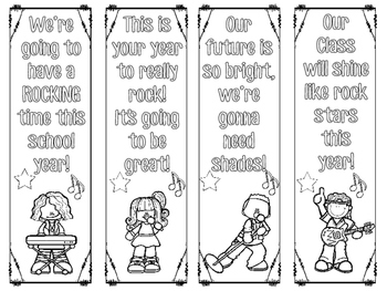 Rock and Roll Rock Star Classroom Decor Themed Bookmarks - FREE