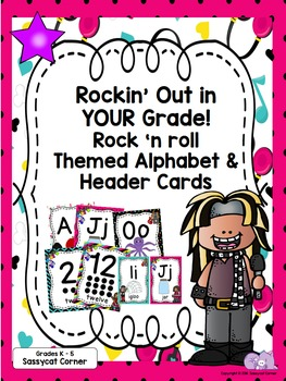 Rock and Roll Rock Star Themed Classroom Decor Color Cards