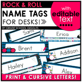 Rock and Roll Themed Name Tags for Desks