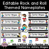 Rock and Roll Themed Editable Name plates / Desk Plates / Name Tags