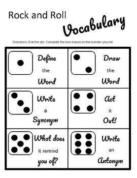 Rock and Roll Vocabulary or Spelling