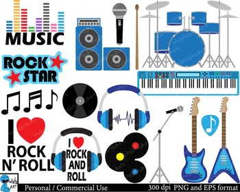 Rock and Roll for boys Digital Clip Art Graphics 35 images cod148