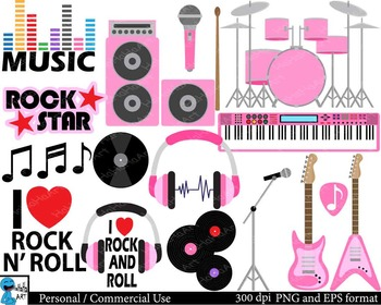 Rock and Roll for girls Digital Clip Art Graphics 35 image