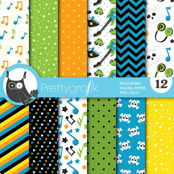 Rock band digital paper, commercial use, scrapbook papers,