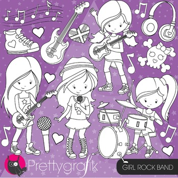 Rock band girl stamps commercial use, vector graphics, ima