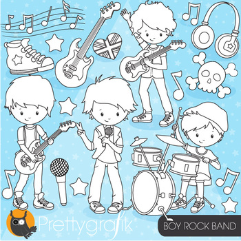 Rock star boy stamps,  commercial use, vector graphics, images  - DS812