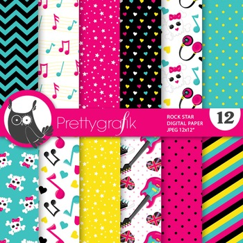 Rock star digital paper, commercial use, scrapbook papers, floral - PS696