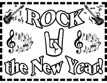 Rock the New Year --Coloring Page