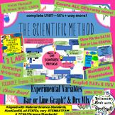 Scientific Method, VARIABLES, Bar vs Line Graphs, complete UNIT- 5E's+ way more!