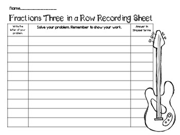 RockStar Review Game-Adding and Subtracting Fractions Three in a Row