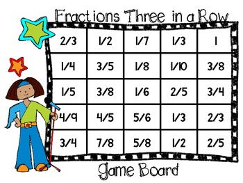 RockStar Review Game-Adding and Subtracting Like Fractions Three in a Row