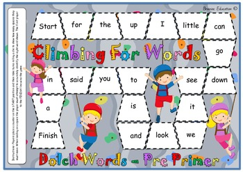 Rockclimbing Sight Word Board Game - Based on Dolch Pre-Primer Words
