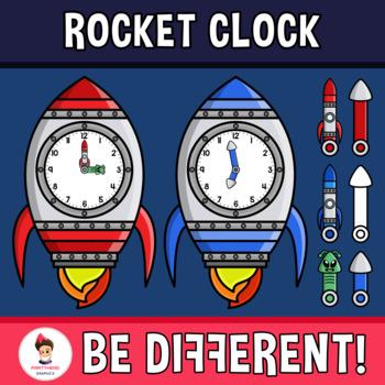 Rocket Clock Clipart