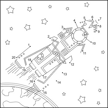 Rocket Connect the Dots Puzzle and Coloring Page, Commercial Use Allowed