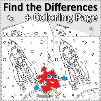 Rocket Find the Differences and Coloring Page, Commercial Use Allowed