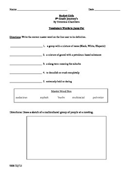 Journeys Common Core 5th- Rocket Girls Supplemental Packet for the SLP