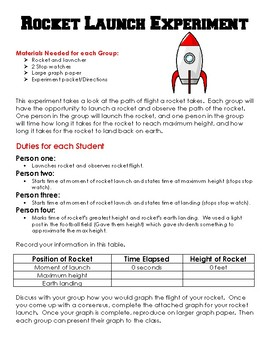 Rocket Launch Experiment with Worksheets