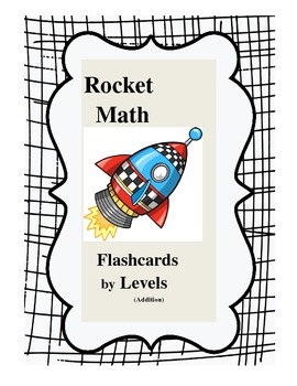 Rocket Math Addition Flashcards by Levels (can edit)