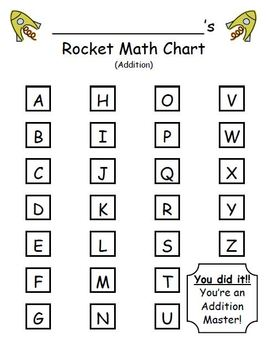 Rocket Math Addition - Progress Tracking Sheet and Flashcards