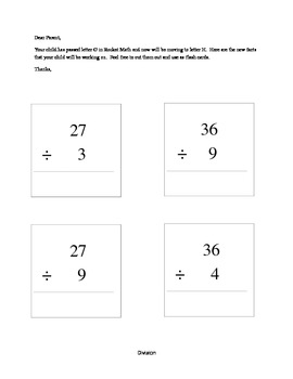 Rocket Math Division Facts and Letter to Parents