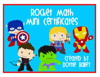 Super Hero Rocket Math Mini Certificates