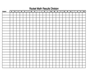 Rocket Math Progress Spreadsheet