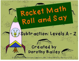 Rocket Math Roll and Say Subtraction Gameboard Bundle Levels A-Z