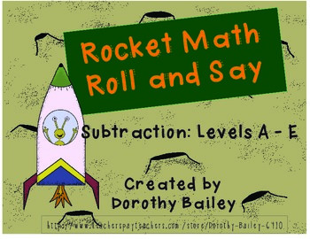 Rocket Math Roll and Say - Subtraction - Levels A - E